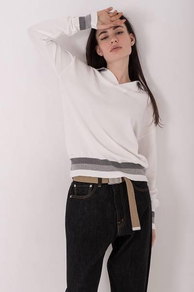 кофта ma`ry`ya white pull polo marin