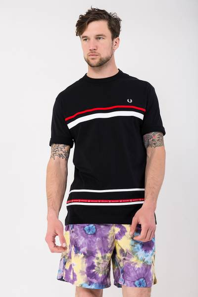 футболка fred perry micro tape t-shirt