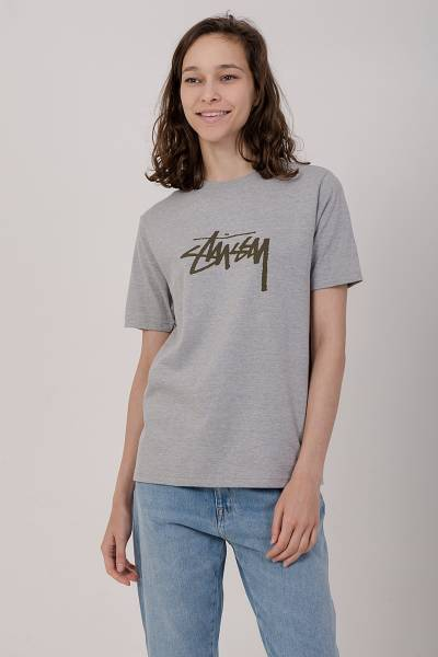 футболка stussy grey heather stock tee