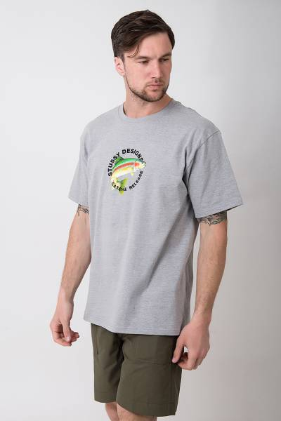 футболка stussy grey heather catch & release