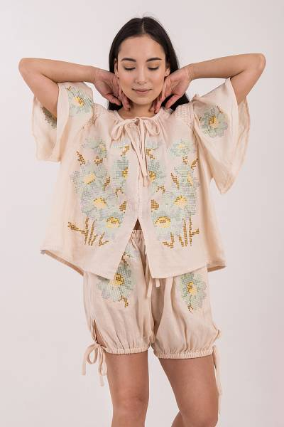 блуза innika choo mini smock top biscuit