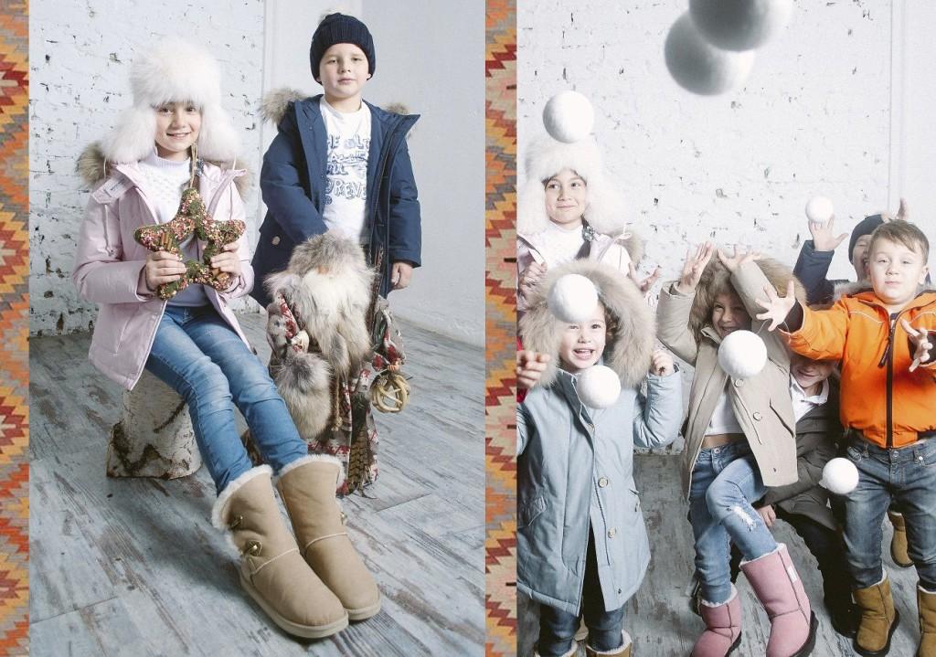 радостные дети позируют для woolrich