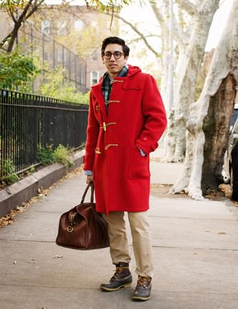 F.E.-Castleberry-in-red-Gloverall-duffle-coat