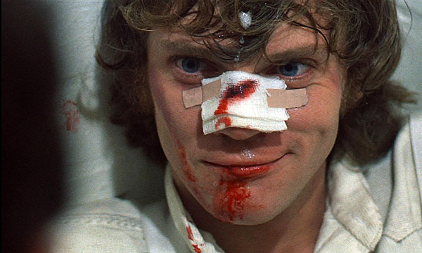 Malcolm McDowell in a Scene from the movie A Clockwork Orange. Photo by Warner Bros. Entertainment.